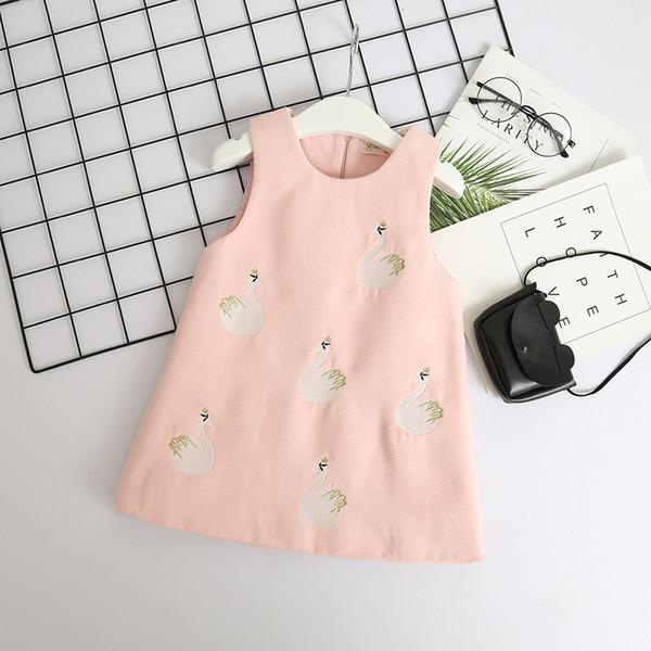 2018 Herbst Baby Mädchen Weste Kleid Kinder Swan Stickerei ärmelloses Kleid Kinder Wolle Blends Weste Kleider Rosa Rot 14061
