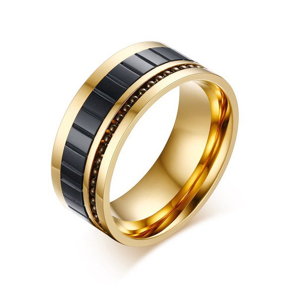 Fashion Men's Ring Gold Color 10MM Wide Fashion Stainless Steel Man Jewelry Beaded Insert Lucky Gift