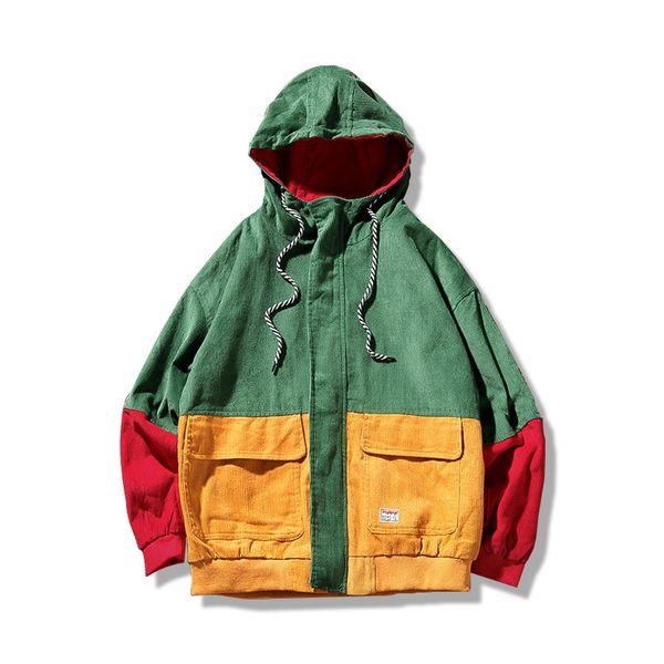Abrigo de la chaqueta de invierno para los hombres Corduroy Patchwork Casual con capucha Retro Chaqueta Hip Hop Streetwear Harajuku Overcoat marca hombres