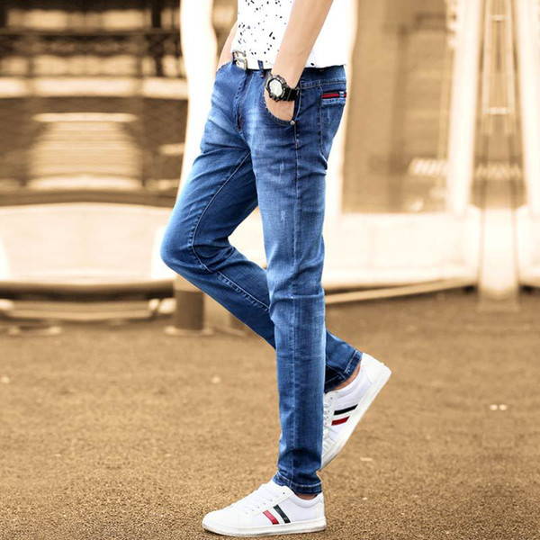 New autumn jeans men's pencil Slim casual youth Korean style washed ripped men's elastic trousers 3 colors