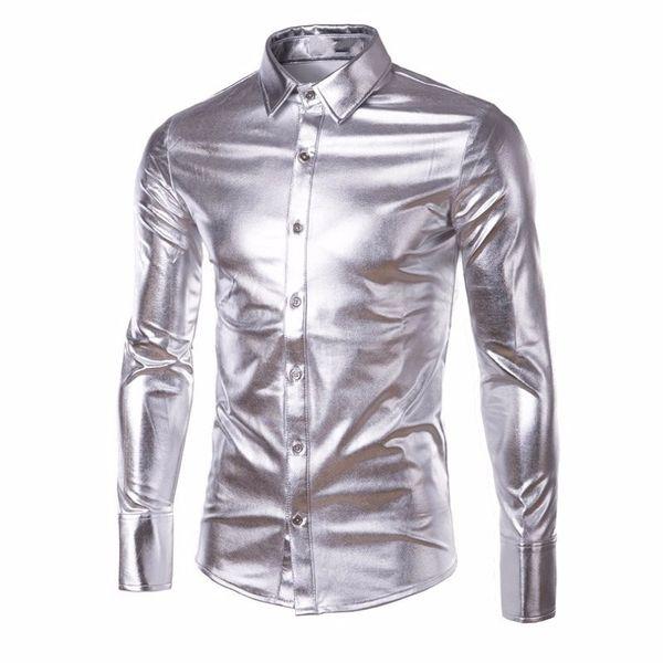 2018 Moda Parlak İngiliz Tarzı Elbise Gömlek Lüks PU Deri Uzun Kollu Erkekler Rahat Gömlek Parti Performansı Giyim Giymek Erkek