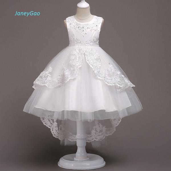 Toptan Çiçek Kız Elbise Beyaz Düğün Için Parti İlk Communion Elbise 2018 Yeni Küçük Kız Örgün Önlük Frong Kısa Uzun Geri