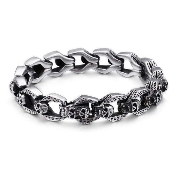 Thick pesado clássico esqueleto padrão dos homens do punk prata antigos pulseira de aço inoxidável polido alta Crânio Hip Hop Rocha Bangle Jewelry