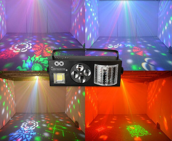 Dj Equipment 4 in1 Laser Flash Strobe Pattern Butterfly Derby DMX512 Illuminazione a LED DJ da discoteca Luce da palco Quattro funzioni lightting Effect