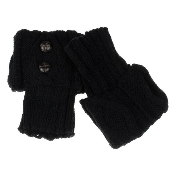 Frauen Winter Beinwärmer Button Crochet Knit Boot Socken Toppers Manschetten (schwarz)