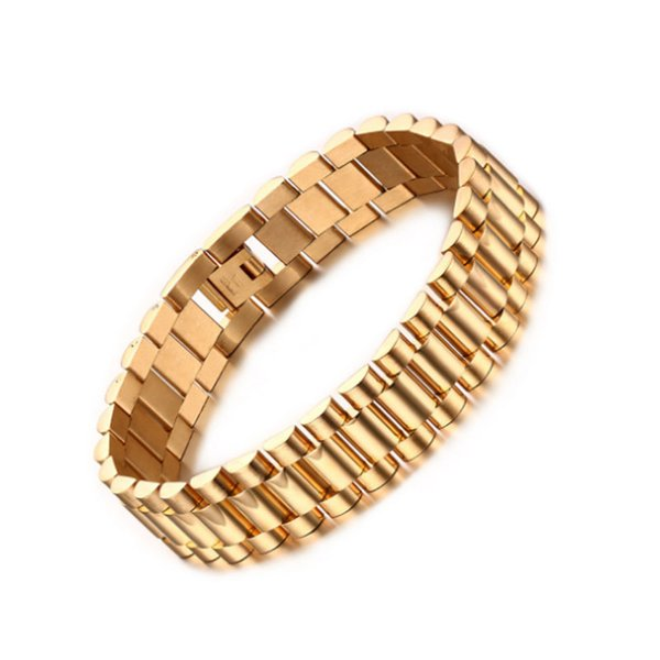 Mens 15mm Watch Band Bracelet Gold Plated Stainless Steel Strap Solid Linkks Cuff Bangles 22cm Length Fashion Jewelry Gifts
