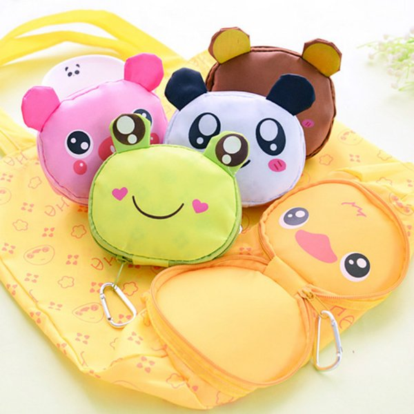 Reusable Folding Shopping Tote waterproof shopping bags Storage Bags Eco Bag Cartoon Animal Panda Frog Pig Bear Foldable