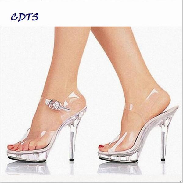 ac09c30f LLXF zapatos de novia / novia mujer 2016 verano Cristal plataforma 13 cm  tacones finos sandalias