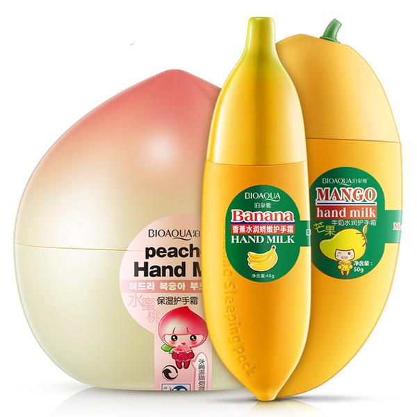 BIOAQUA Muz Süt El Kremleri Şeftali Mango Meyve Nemlendirici Besler El Bakım Losyonları Handcreme Cilt Defender Cilt Bakım Kremi Ürünleri