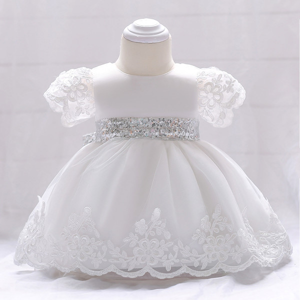 Baby girls lace tulle embroidery princess Ball Gown dress high quality kids sequins Bows belt dress infant kids birthday party dresses Y1159