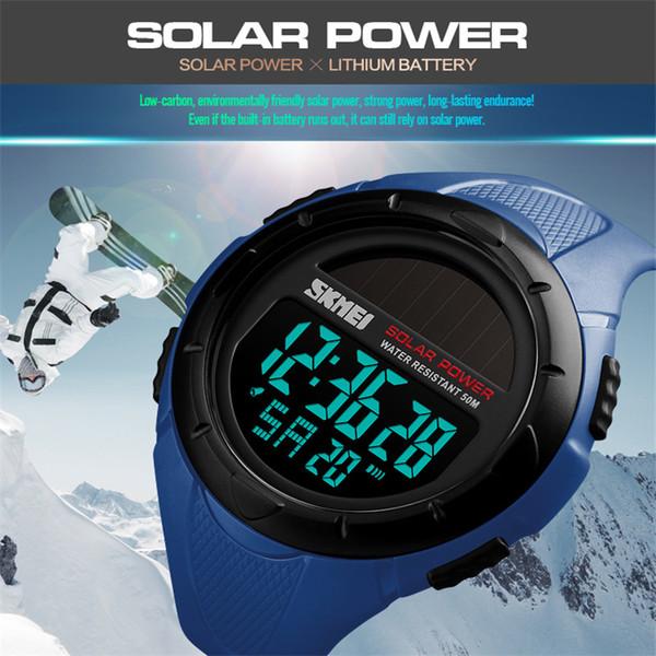 Moda SKMEI Energía Solar Relojes Para Hombre LED Deportes Digitales Relojes Impermeables Reloj Para Hombre Reloj Hombre Relogio Masculino