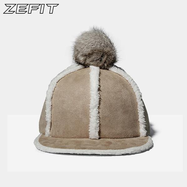 Winter New Style Adjustable Flat Bill Baseball Caps with Fur Ball Women Fashion Warm Hat