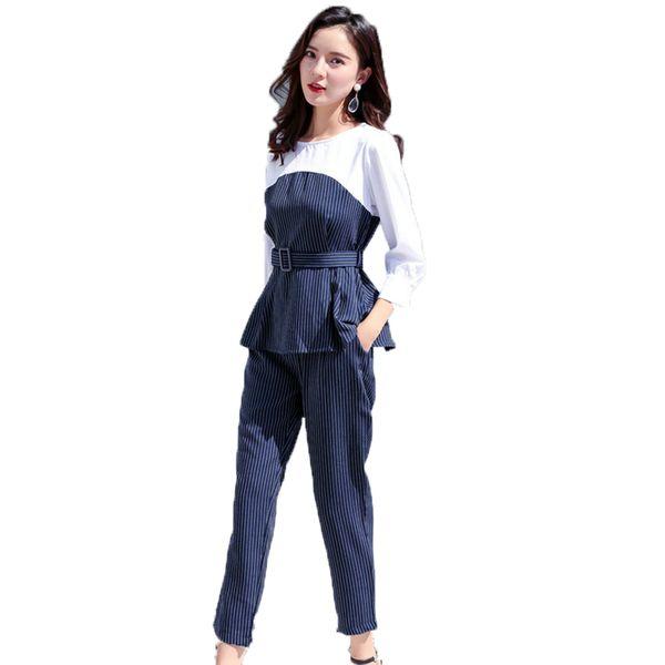 Office Lady Elegant 2PCS Pant Suit Set Women Blue Stripes Blouse And Trouser Suit Business Casual Outfits Woman Top With Pants