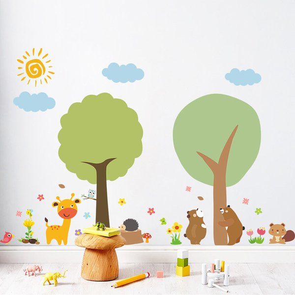 Cartoon tree bear Zoo wall sticker for children home decoration DIY art decals Background decorations kindergarten