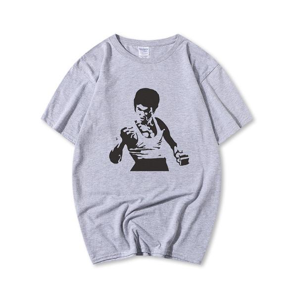 Mens Designer T Shirts 2018 Summer Casual Luxury Shirt Fashion Tide Men T Shirt Kong Fu Bruce Lee Print Crew Neck Size XS-3XL