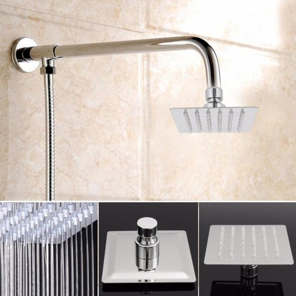 top popular 4 Inch Stainless Steel high pressure Square Silver Pressurize Rainfall Shower Head Sprayer for Bathroom Chrome Finish 2019