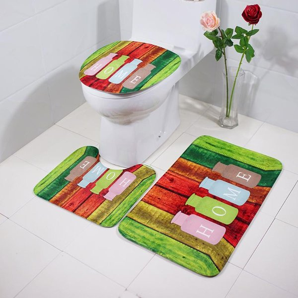 3pcs Bath Mats Colorful Toilet Seat Cover Floor Mat Non-Slip Bathroom Carpet Water Absorption Pad Kit Home Decor