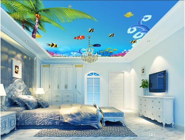 3d murais de teto papel de parede personalizado foto não-tecido murais de parede Fantasia Coral Underwater World Ceiling Teto