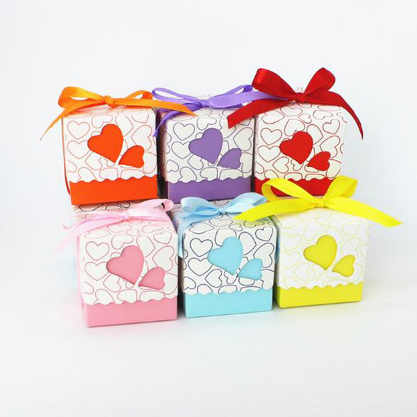 6 Colors Wedding Birthday Candy Boxes Double Hollow Love Heart Design Laser Cut Wedding Party Favor Gifts Wrap Candy Bags With Ribbon