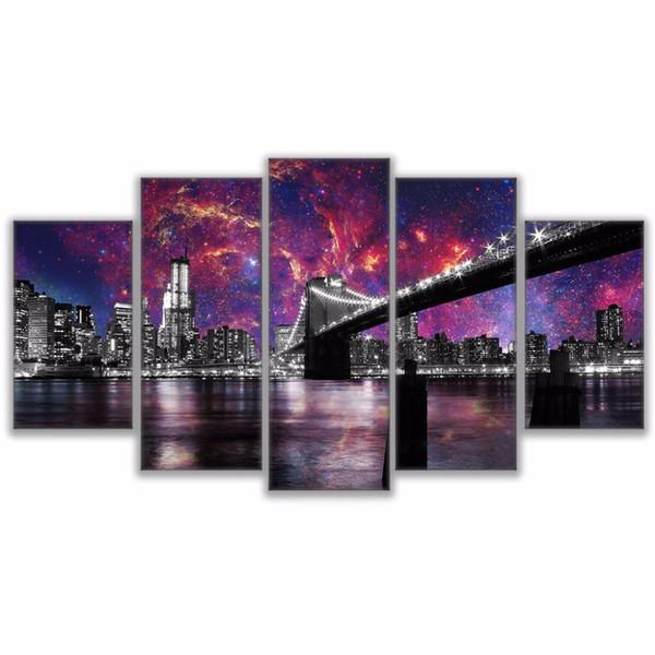 Tuval Boyama Duvar Sanatı Çerçeve Ev Dekor HD Baskılar 5 Parça Geceleri Brooklyn Köprüsü San Francisco Poster Yıldızlı Gökyüzü Resimleri
