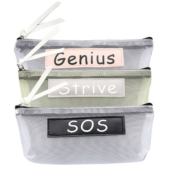 Transparent Mesh Pencil Case Simple Student Kids Pencil Bag Nylon Cosmetic Bag School Office Supplies Stationery