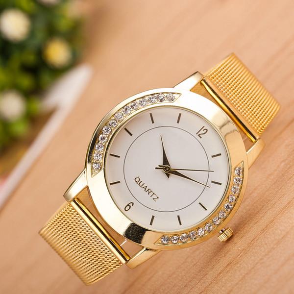 7ee4acf6fe4 Mulheres Relógios Top Marca de Luxo de Ouro de Quartzo Analógico Relógio de Pulso  Boa Qualidade