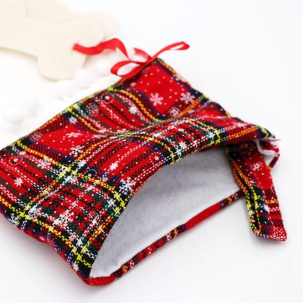 Christmas Stocking Wth SnowFlake for Dog Cat Bone Gift Bag Christmas Decorations for Home