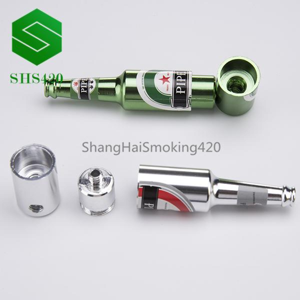 Beer Bottle Metal Pipe L=70mm Many Colored Portable Tobacco Mini Pipe Aluminum Metal Dab Oil Rig