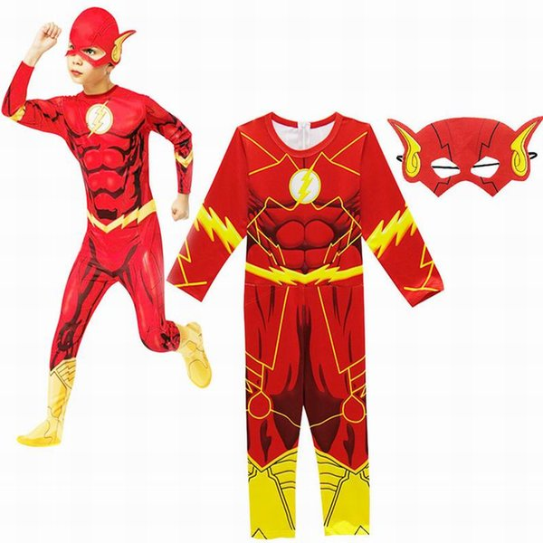 Boy The Flash Cosplay Muscle Printed Fancy Dress Kids Party Halloween Flash Cosplay Costumes Boy Jumpsuits+Mask 2PCS