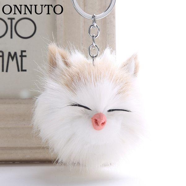 Cute Sleeping Smile Cat Pompom Keychain Keyring Top Quality Charm Fur Ball Pendants Car Key Chain Accessories Jewelry 6C1187