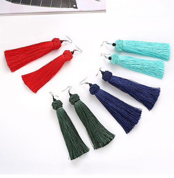 Fringe Quasten Schmuck Haken Ohrringe - hohe Qualität Nylon Thread Anweisung Drop lange Dangle handgewebte Ohrringe 4 Farbe wählen A00346
