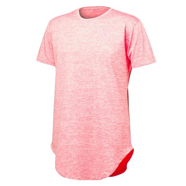 Mens Tshirts Summer Longline Curved Hem Gyms T-shirt Oversized Short Sleeve Hip Hop Tee Shirt Homme Fitness Clothing Compression T Shirt Men
