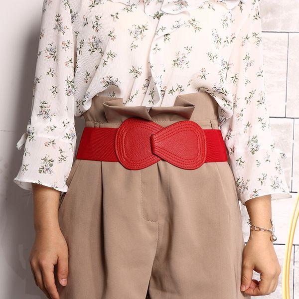 Elastic Dress Stretch Wide Waistband Leather Girdle Bowknot Women Waist Belts