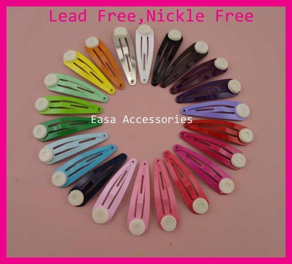 "50PCS Assorted Colors 4.0cm 1.5"" Tear Drop Plain Metal Snap Clips with 8mm glue pad at nickle free,lead free,kids hairpin boutique"