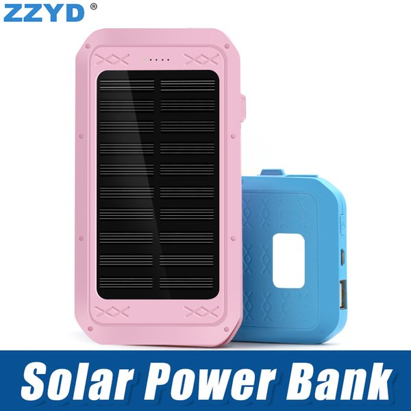 ZZYD Portable 4000mAh Solar Power Bank External Batter Pack Phone Charger For iP 7 8 Samsung S8 Note 8
