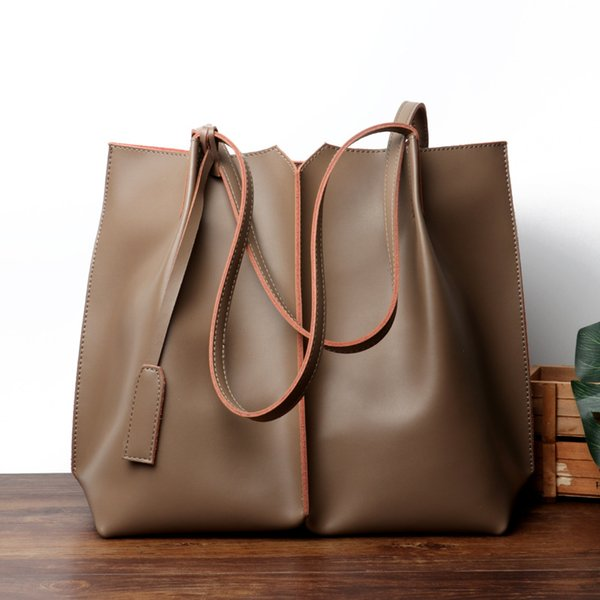 Große Eimer-Beutel für Frauen-2018 echtes Leder-weiche beiläufige Einkaufstasche-Luxushandtaschen-Frauen-Taschen Designer-Patchwork-Schulter-Beutel