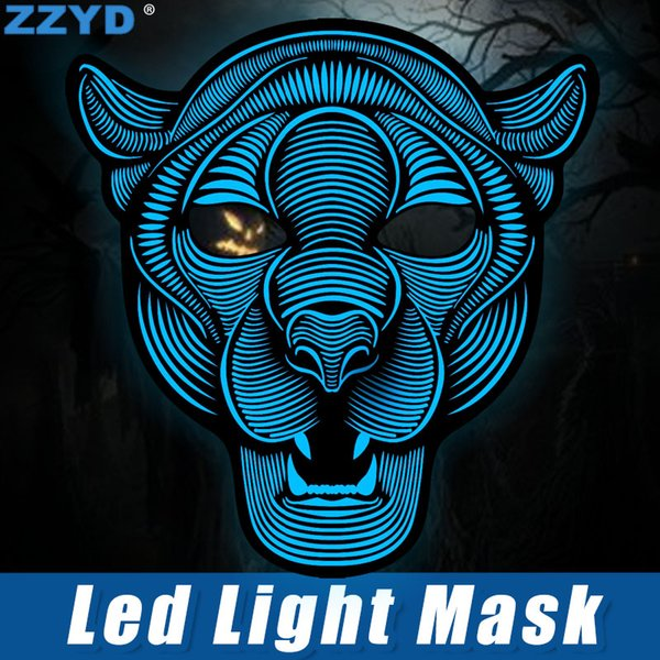 ZZYD LED Mask Halloween Cosplay EL Mask Sound Control Creative Cold Light Masquerade Portable Flexible With Many Style Mask