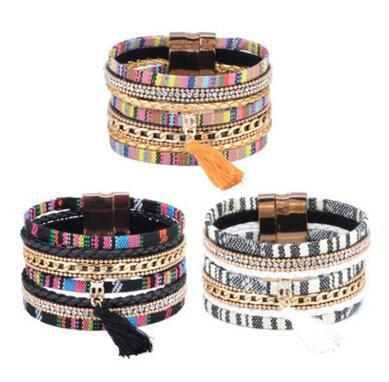 Tassels Charm Multilayer Wrap Bracelet Gold Chain Crystal Wristband Bangle Leather Magnetic Buckle Bracelet Tassel Bracelet Punk Bracelets