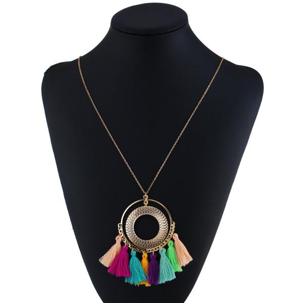 LZHLQ Collar de la borla de las mujeres Collar largo Boho Bohemia Accesorios Colorido de la vendimia Estilo punky étnico Joyería de la manera