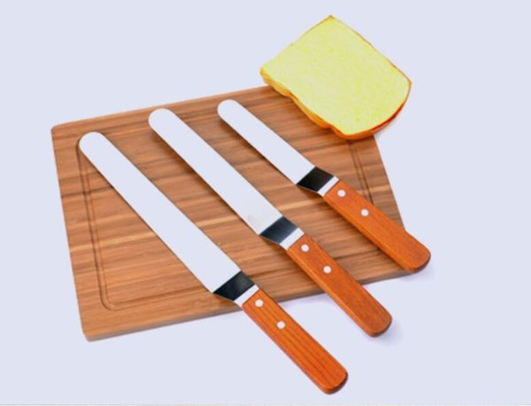 6'' 8'' 10'' Cake Icing Spatula With Wood Handle Cream Butter Smoother Blade Angled Flat Scraper Smoothing Tool