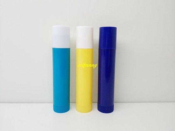 1000pcs/lot 4g Lip Balm Container with Caps Plastic Empty Lip Balm Stick Tube Lipstick Tube 3 Colors