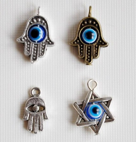Vintage Gold Silver Fatima Evil Eye Star of David Hexagram Religious Kabbalah Luck Pendant Charms Connector For DIY Bracelet Craft Jewelry