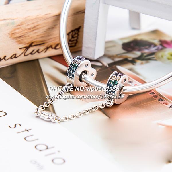 2018 Весна релиз стерлингового серебра разноцветные дуги любви безопасности цепи с разноцветные CZ Шарм Fit Европейский DIY браслеты ожерелья