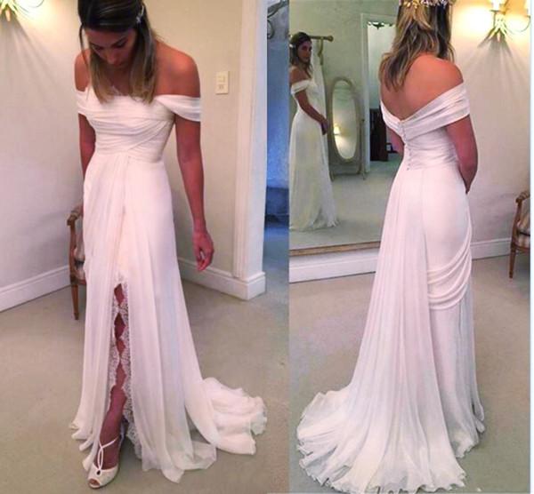 Robes de mariée de plage épaule en mousseline de soie fendue haute une ligne Boho robes de mariée été dentelle tenue de ville formelle porter des vêtements bon marché personnalisé DH4140