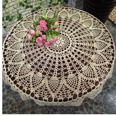 Nappe Dentelle Crochet Rond Nappe Dentelle Couverture De Table Tapis 70/80 / 90Cm Shabby Vintage DIY Crochet Fait De Nappe