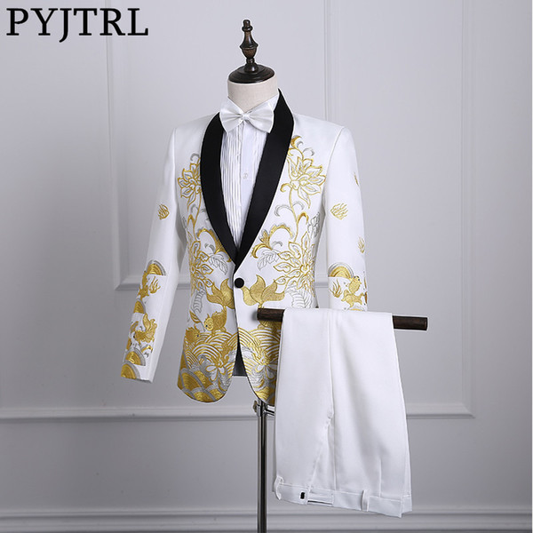 PYJTRL 2018 Male Shawl Lapel White Black Red Embroidered Prom Dress Suits Stage Singer Costume Homme Mens Suits With Pants S18101903