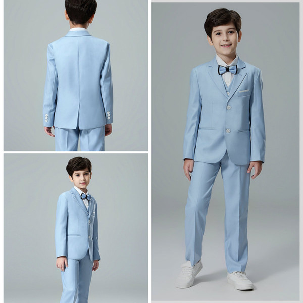 Fsahionable Blue Three Pieces Boys Formal Wear Pants Vests Two Botton Custom Made Children Wedding Party Prom Tuxedos Suits