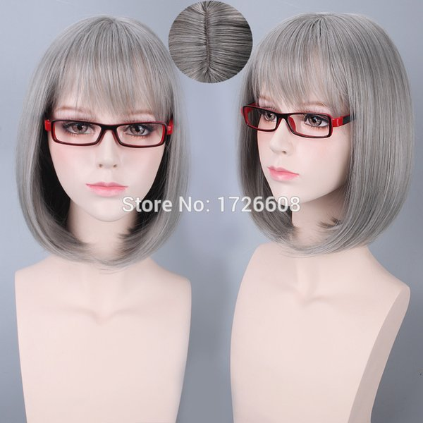 good quality Inside natural grey wig bob cosplay silver gray lolita wigs synthetic hair style cheap short wigs for black women