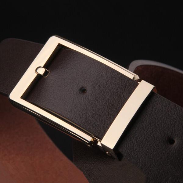 High Quality Brand Designer Belts Luxury Fashion Top Belts For Men Simple Type Big Buckle Belt Genuine Leather Waist Strap Belt Box