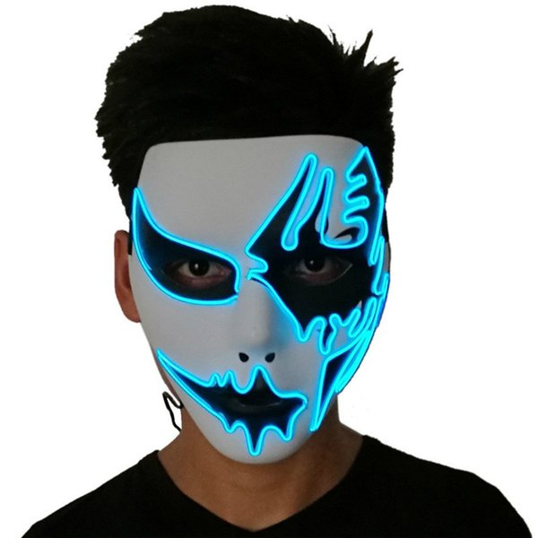 Three Light Modes EL Wire Ghost Mask LED Light Up Neon Mask For Halloween Scary Cosplay Masquerade Dancing Party Luminous Masks